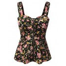 Doublju Top -  Doublju Floral Zip-Up Front Peplum Top For Women With Plus Size