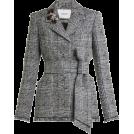 HalfMoonRun Jacket - coats -  ERDEM embellished checked jacket