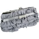 MG Collection Clutch bags -  Empress Princess Ruffle Rhinestone Bow Tie Clasp Clutch Baguette Handbag Evening Bag Purse w/2 Detachable Chains Silver