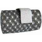 MG Collection Clutch bags -  Enchanting Vintage Lace Sprinkle Bling Rhinestones Closure Hard Case Baguette Evening Clutch Purse w/Detachable Shoulder Chain Gray