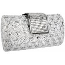 MG Collection Clutch bags -  Enchanting Vintage Lace Sprinkle Bling Rhinestones Closure Hard Case Baguette Evening Clutch Purse w/Detachable Shoulder Chain White