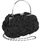 MG Collection Clutch bags -  Enormous Rosette Roses Framed Clasp Evening Handbag Clutch Purse Convertible Bag w/Hidden Handle, Shoulder Chain Black