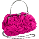 MG Collection Clutch bags -  Enormous Rosette Roses Framed Clasp Evening Handbag Clutch Purse Convertible Bag w/Hidden Handle, Shoulder Chain Fuchsia
