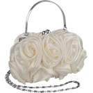 MG Collection Clutch bags -  Enormous Rosette Roses Framed Clasp Evening Handbag Clutch Purse Convertible Bag w/Hidden Handle, Shoulder Chain White