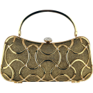 MG Collection Clutch bags -  Exotic Bean-shape Abstract Metallic Interwoven Rhinestone Clasp Hard Case Box Clutch Baguette Evening Bag Purse Minaudiere w/Hidden Handle, Shoulder Chain Gold