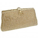 MG Collection Clutch bags -  Exquisite Vintage Crystals Rhinestones Soft Mesh Clasp Clutch Baguette Evening Bag Handbag Purse w/Detachable Chain Gold