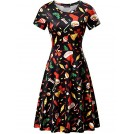 Fensace Dresses -  FENSACE Green Dress Womens Santa Claus Printed Gifts Xmas Dress