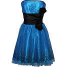 PacificPlex Obleke -  Flocked Polka Dot Strapless Net Holiday Party Gown Cocktail Prom Dress Black/Teal