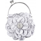 MG Collection Clutch bags -  Flower Bloom Rhinestone Encrusted Stamen Side Kiss Frame Clasp Evening Bag Baguette Clutch Handbag Purse w/Detachable Chain Pewter