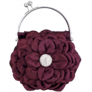 MG Collection Clutch bags -  Flower Bloom Rhinestone Encrusted Stamen Side Kiss Frame Clasp Evening Bag Baguette Clutch Handbag Purse w/Detachable Chain Purple