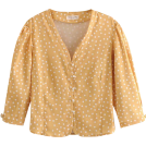 FECLOTHING Long sleeves shirts -  French retro yellow wave pearl buckle lo