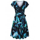 Furnex Dresses -  Furnex Women's Summer V Neck Floral Casual Midi Dress with Belt