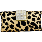 MG Collection Clutch bags -  Glitter Texture Velour Dalmatian Print Rhinestone Encrushed Closure Rectangle Hard Case Baguette Evening Clutch Purse w/Detachable Chain Gold