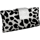 MG Collection Clutch bags -  Glitter Texture Velour Dalmatian Print Rhinestone Encrushed Closure Rectangle Hard Case Baguette Evening Clutch Purse w/Detachable Chain Silver