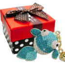 MG Collection Accessories -  Gold Fish Rhinestone Bling Crystals Handbag Charm Keychain Key Clip Holder w/Gift Box Blue
