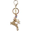MG Collection Accessories -  Golden Reindeer Bling Crystals Rhinestone Handbag Charm Keyring Key Chain Holder