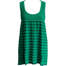 FineBrandShop Tunic -  Green Horizontal Striped Seamless Tunic Dress Smocking Top