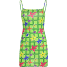 FECLOTHING Dresses -  Green plaid floral dress