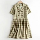 FECLOTHING Dresses -  Green plaid suit collar small fresh dres
