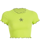 FECLOTHING Shirts -  Green wavy side flower embroidery short