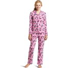Hello Kitty Pajamas -  Hello Kitty Women's Print 2 Piece Notch Collar Top and Pant Pajama Set Light Pink