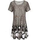 Hibelle Dresses -  Hibelle Swing Dress, Women's Modest Fit and Flare Feminine Classic Style Shift Tunic Dress Business Casual Light Brown XXL