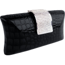 MG Collection Clutch bags -  Imperial Crocodile Animal Print Rhinestone Closure Hard Case Baguette Evening Clutch Purse w/Detachable Chain Black