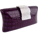MG Collection Clutch bags -  Imperial Crocodile Animal Print Rhinestone Closure Hard Case Baguette Evening Clutch Purse w/Detachable Chain Purple