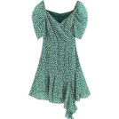 FECLOTHING Dresses -  Irregular green floral V-neck bubble sle