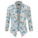 JJ Perfection Shirts -  JJ Perfection Women's Floral Texture Woven Ruched Sleeve Open-Front Blazer