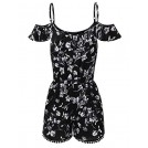 JJ Perfection Pants -  JJ Perfection Womens Summer Sleeveless Printed Overlay Romper Jumpsuit