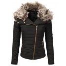 JJ Perfection Outerwear -  JJ Perfection Women's Zip Up Quilted Fur Trimmed Hood Padding Jacket
