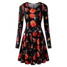 Kira Dresses -  KIRA Women's Christmas Dress Xmas Gifts Print Flared Swing A Line Dress