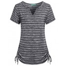 Kimmery Shirts -  Kimmery Womens Notch V Neck Short Sleeve Loose Fit Drawstring Side Striped Shirts