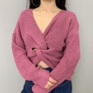 FECLOTHING Pullovers -  Knotted loose long-sleeved sweater with