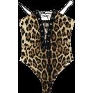 FECLOTHING Fatos -  Lace-up V-neck sling leopard-print jumps