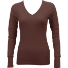 FineBrandShop Long sleeves t-shirts -  Ladies Brown Long Sleeve Thermal Top V-Neck