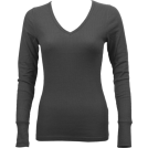 FineBrandShop Long sleeves t-shirts -  Ladies Charcoal Long Sleeve Thermal Top V-Neck