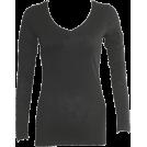 FineBrandShop Long sleeves t-shirts -  Ladies Cotton Slub Long Sleeve Black V-Neck Shirt