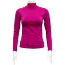 FineBrandShop Long sleeves t-shirts -  Ladies Fuchsia Seamless Long Sleeve Turtleneck Top