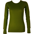 FineBrandShop Long sleeves t-shirts -  Ladies Olive Green Long Sleeve Thermal Top Crew Neck