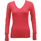 FineBrandShop Long sleeves t-shirts -  Ladies Pink Long Sleeve Thermal Top V-Neck