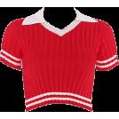 FECLOTHING Shirts -  Lapel striped short crop sweater