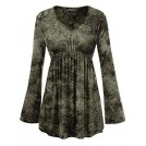 Lock and Love Shirts -  Lock and Love LL Womens Tie-Dye Long Sleeve Empire Waist Line Tunic Top - Made in USA