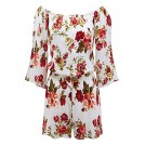Lock and Love Pants -  Lock and Love Womens 3/4 Sleeve Floral Printed Off Shoulder Romper