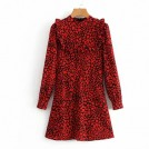 FECLOTHING Dresses -  Long sleeve printed chest ruffled collar