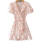FECLOTHING Dresses -  Love Print Sweet Chiffon Short Sleeve Dr