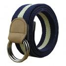 MaiKun Belt -  Maikun Canvas Web Multi-Color Belt with Round Metal Buckle and Leather Tip
