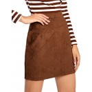 MakeMeChic Skirts -  MakeMeChic Women's Zipper Back A-Line Bodycon Mini Faux Suede Skirt