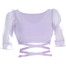 FECLOTHING Shirts -  Mesh Puff Sleeve Purple T-Shirt
